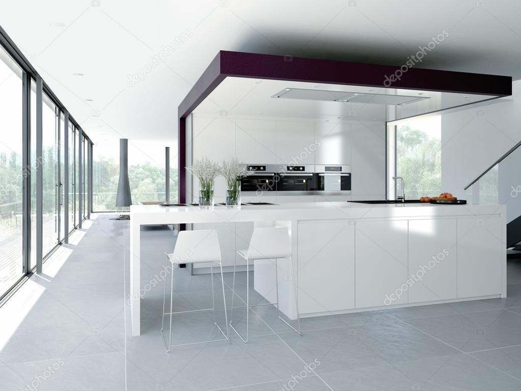 Modern Kitchen Interior Design Concept 3d Rendering Stock Photo
