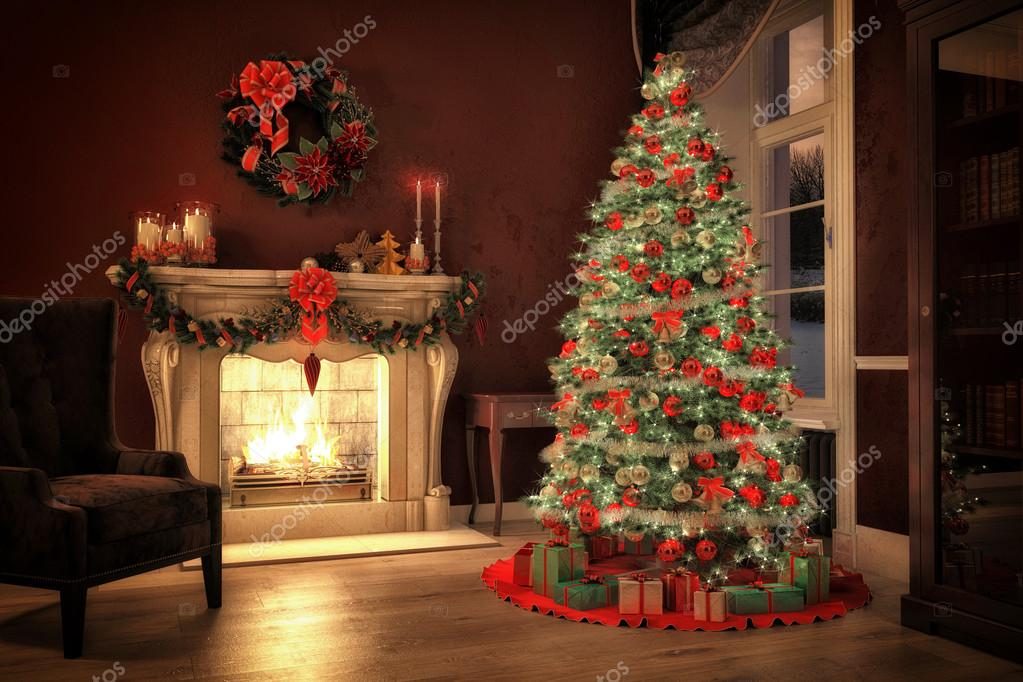 Christmas scene with gifts and fire in background. 3D rendering