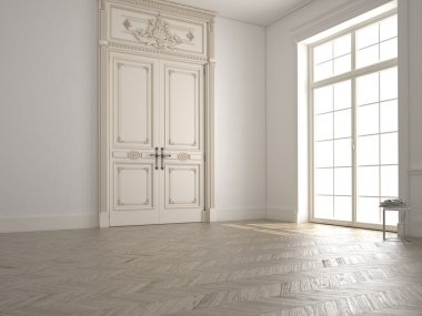 classic white room with window and a view.3d rendering