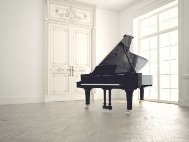 piano in a n empty room.3d rendering