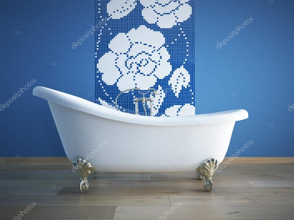 Alte Badewanne Im Zimmer Mit Bunten Wand 3d Rendering Stockfoto