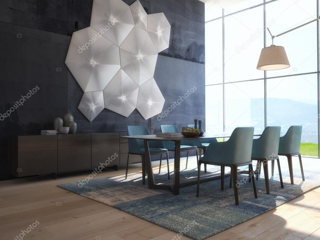 Moderne Design witte eetkamer interieur architectuur. 3D-rendering ...
