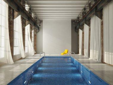 inddor swiming pool in a loft. 3d rendering