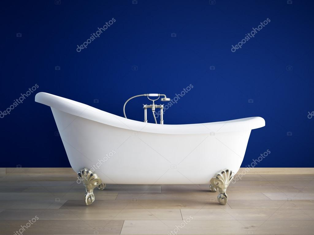 Vintage bath tube in a room with colorful wall. 3d rendering
