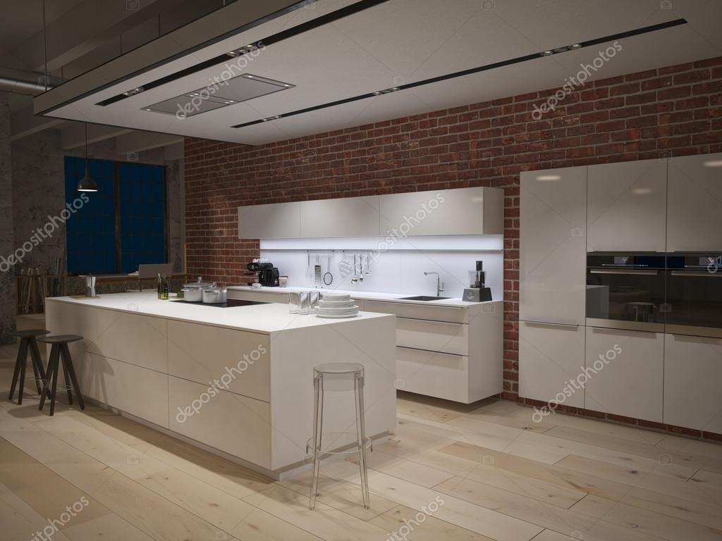 Contemporary steel kitchen in converted industrial loft. 3d rendering