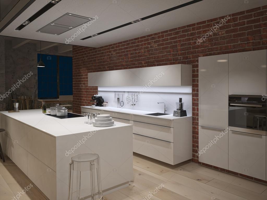 Contemporary steel kitchen in converted industrial loft. 3d rendering