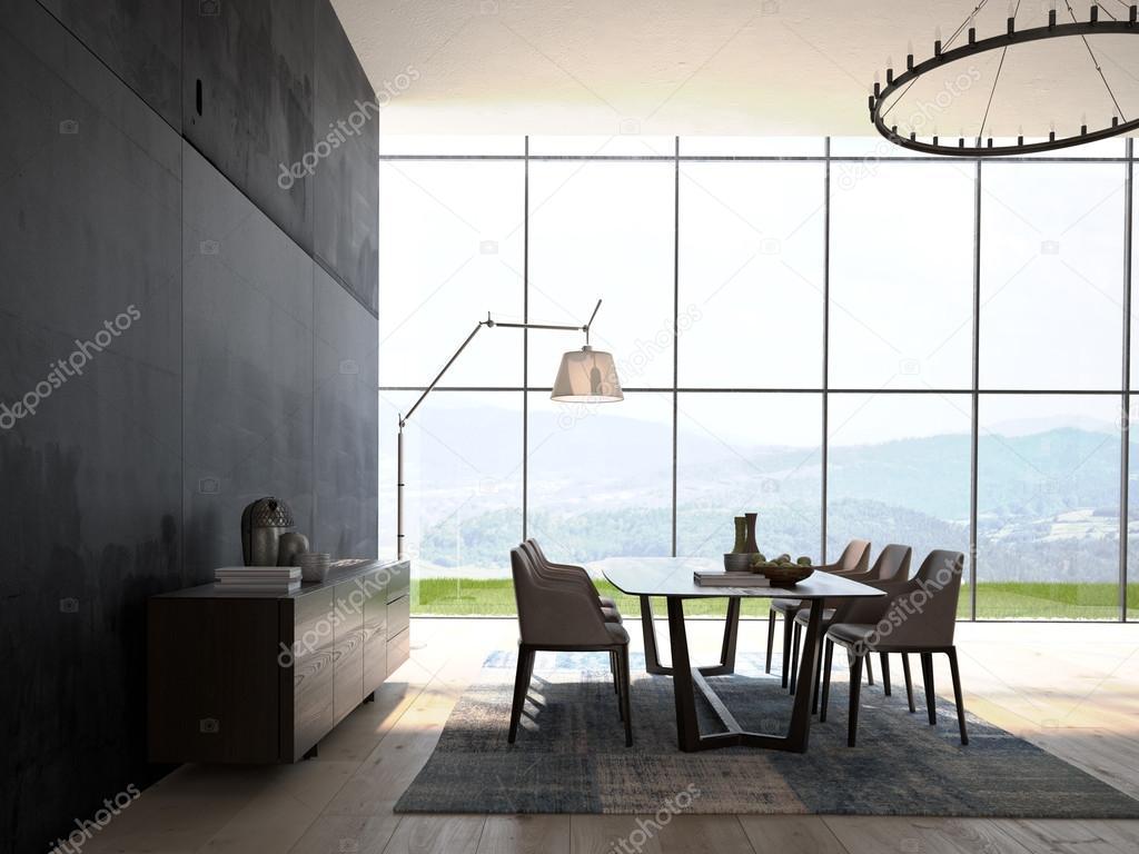 Modernes Design weiß Esszimmer Innenarchitektur. 3D-Rendering ...