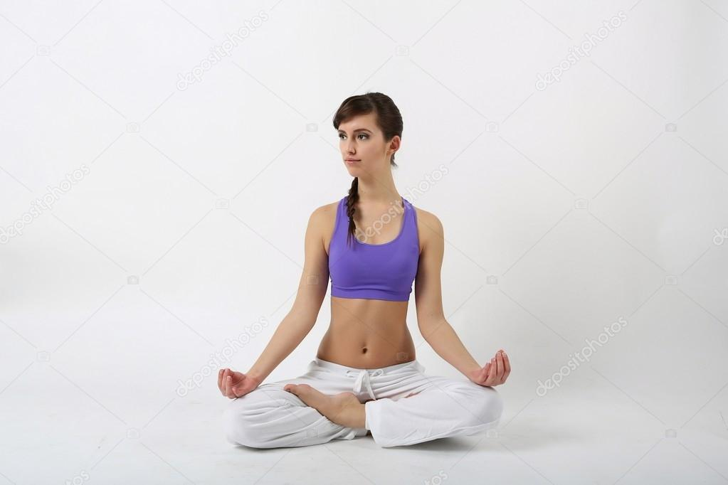 Woman working yoga exercise