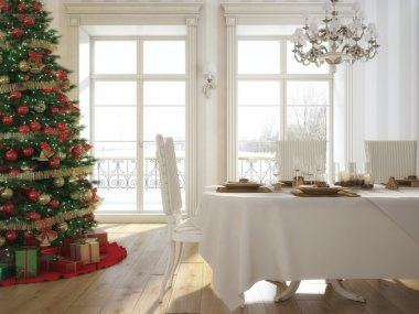 A decorated christmas table with wine glasses and christmas tree in background. 3d rendering