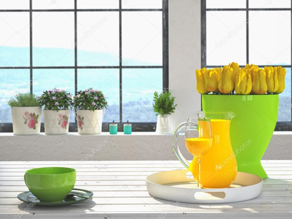 fresh yellow tulips on kitchen background