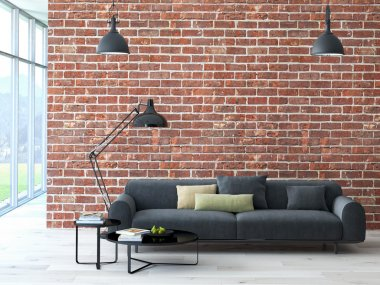 Loft interior with brick wall and coffee table