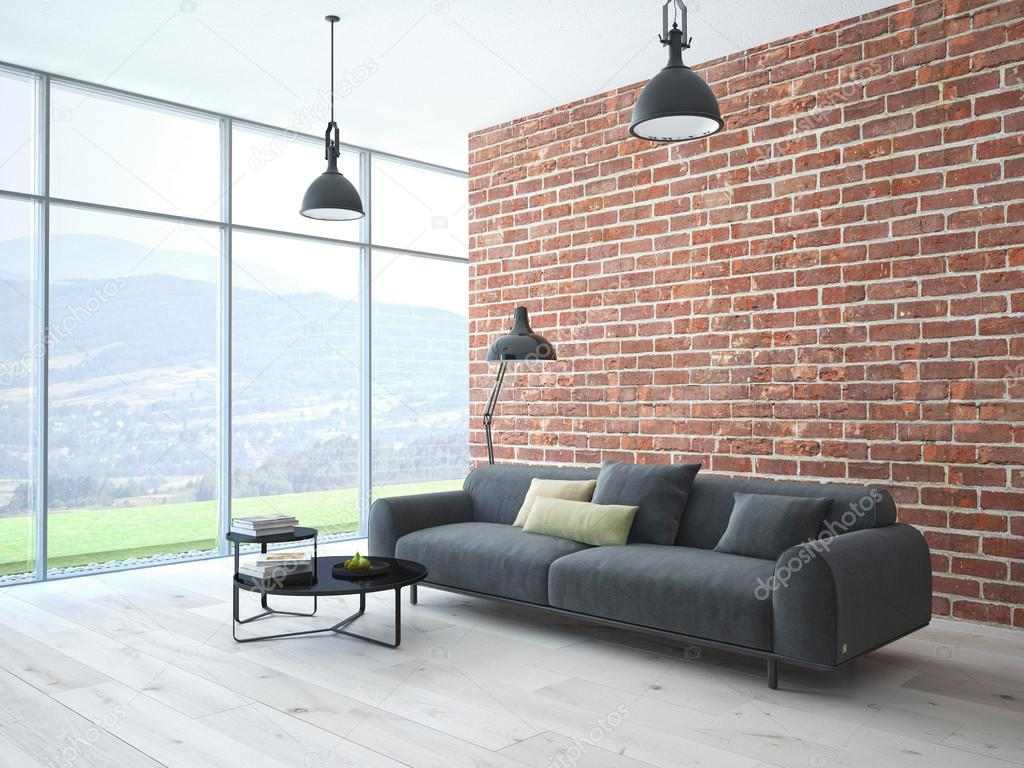 Loft interieur met bakstenen muur en koffietafel for Interieur loft