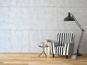 obývací pokoj s křeslem a knih, 3d vykreslování