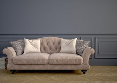 Beautiful vintage sofa. 3d rendering