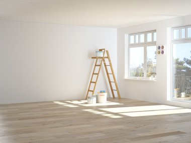 Painting walls in room with ladder. 3d rendering stock vector