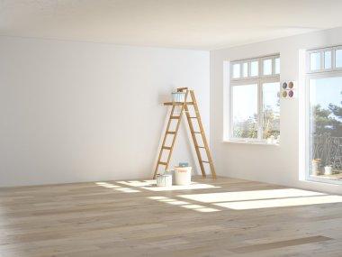"""Картина, постер, плакат, фотообои """"Роспись стен в комнате с лестницей во время ремонта. 3D визуализация"""", артикул 71526969"""