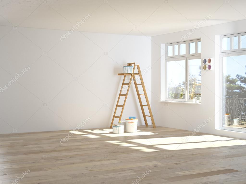 Schilderij muren in de kamer met ladder tijdens de renovatie d