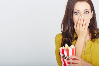 young woman with popcorn