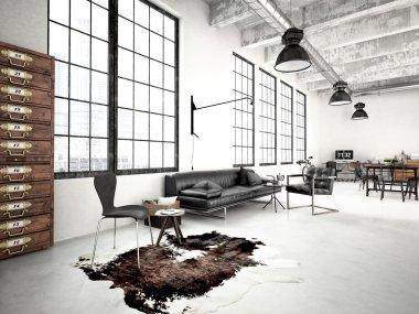 modern industrial loft. 3d rendering