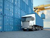 Vůz s kontejnery. 3D vykreslování