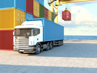 Truck with containers. 3d rendering