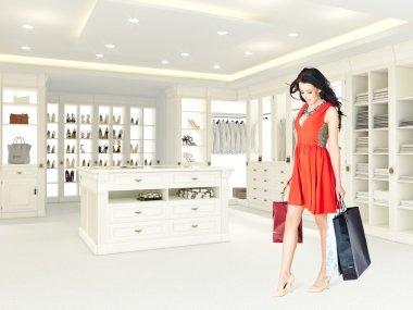 woman in a open closet. 3d rendering