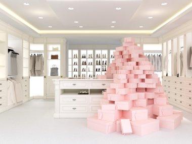 large white wardrobe. 3d rendering