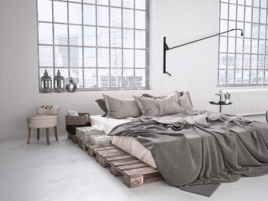 Industrial bedroom. 3d rendering