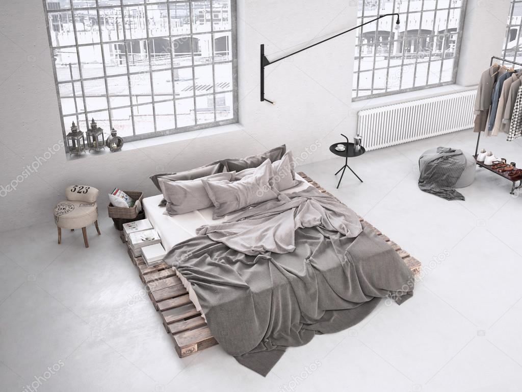 industriële slaapkamer. 3D-rendering — Stockfoto © 2mmedia #81565908