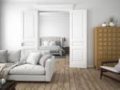 moderní obývací pokoj. 3D vykreslování
