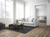 Photo  modern living room. 3d rendering