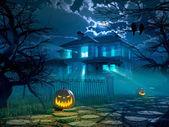 Halloween noci pozadí s strašidelný dům. 3D vykreslování