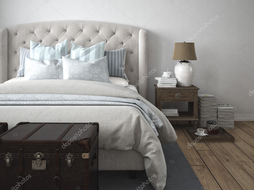 Vintage Stijl Slaapkamer : Luxe vintage stijl slaapkamer d rendering u stockfoto mmedia