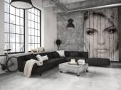 obývací pokoj podkrovní byt. 3D vykreslování