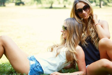 Two cheerful girls twins.