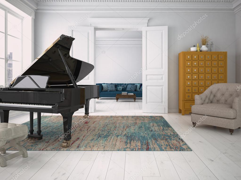Black piano in a living room. 3d rendering — Stock Photo © 2mmedia ...