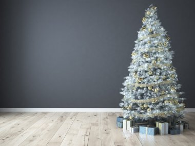 Christmas tree with gifts. 3d rendering
