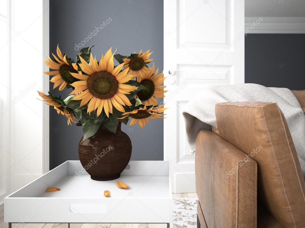 Still life with sunflowers. 3d rendering