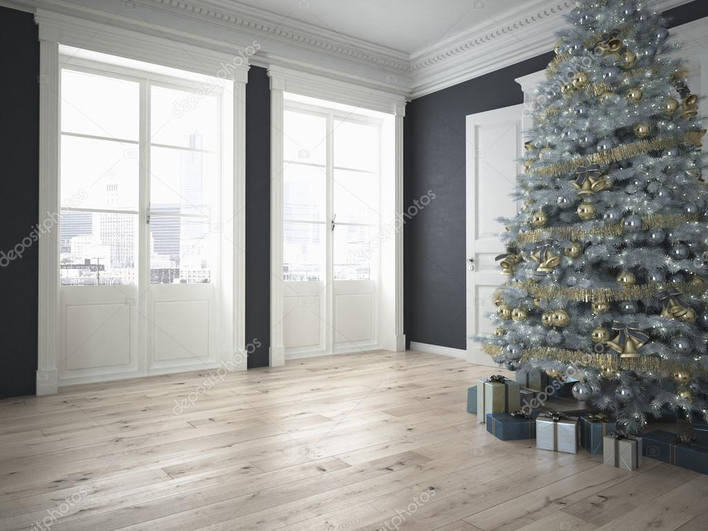 decorated christmas tree with lots of presents. 3d rendering