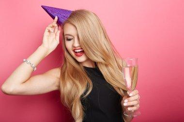 Young celebrating woman black dress.