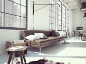 modern loft. 3d rendering