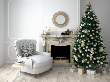 Christmas living room. 3d rendering