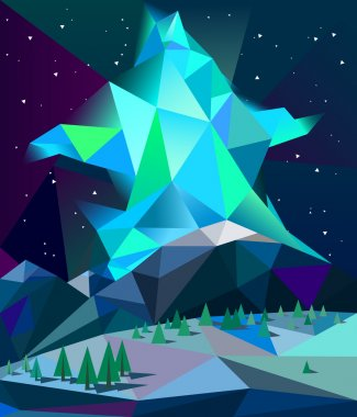 Low poly northern lights