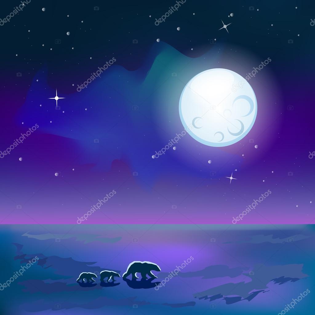 Polar bears under moon
