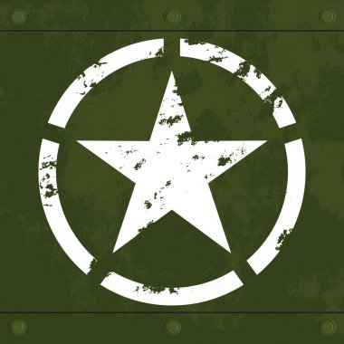 Grungy white army star on green camouflage decayed metal with seams and rivets stock vector