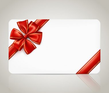 Gift card with red ribbon bow