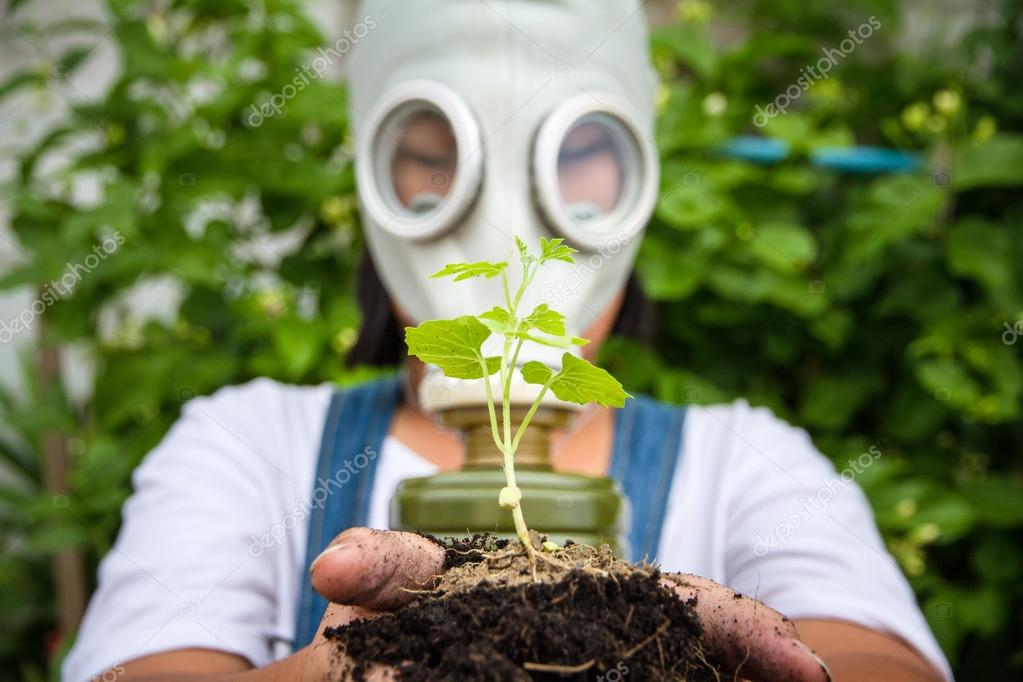 Girl with gas masks Holding a tree seedlings