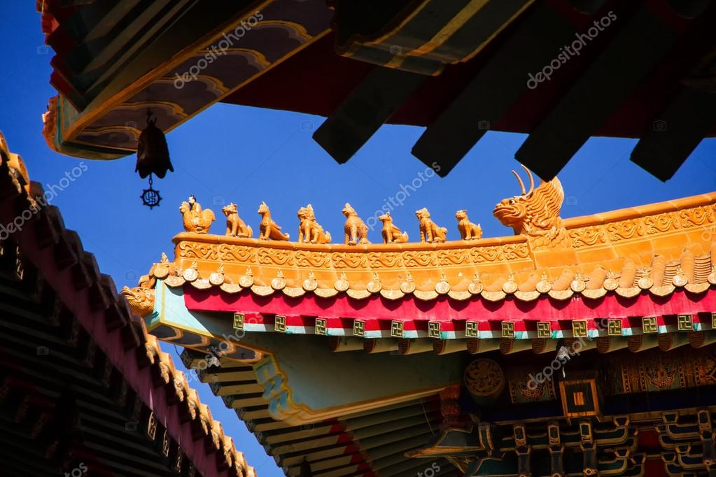 art of roof decoration in chinese temple thailand stock photo