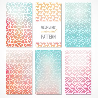 Set of six colorful banners with oriental geometric patterns in a modern concept. Vector background. stock vector