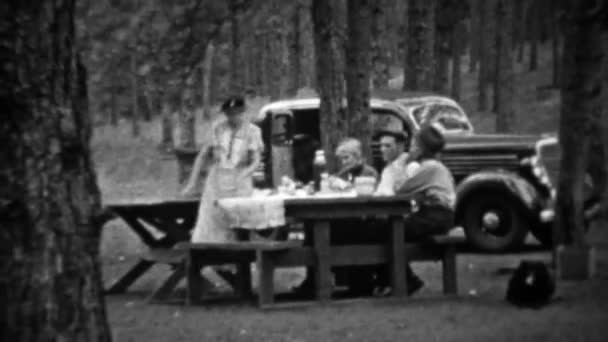 Family picnic in pine tree forest